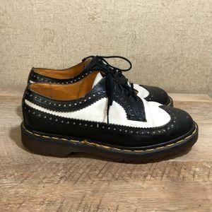 Dr Martens Wingtip Shoes Black White Made England